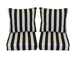 Black and White Stripe Cushions for Patio Outdoor Deep Seati