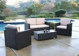 Blazer 4 Piece Deep Seating Set Outdoor Patio Furniture Wick