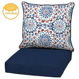 Outdoor Deep Seat Chair Patio Cushions Set Blue Pad UV Resis