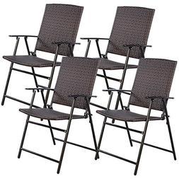Tangkula 4 PCS Folding Patio Chair Set Outdoor Pool Lawn Por