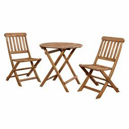 Brown Patio Table Set Wooden 2 Seater Bistro Chairs Small Ro