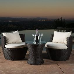 Kyoto Outdoor Round 3-Piece Brown Wicker Chat Set with Beige