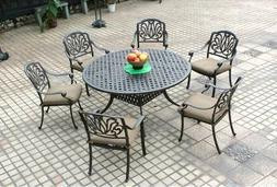 Elisabeth patio dining round table set 7 piece cast aluminum