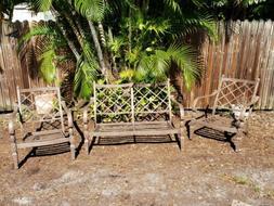 Cast Aluminum Patio Furniture 2 Club Chairs & Loveseat HAMPT