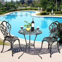 GOPLUS Cast Aluminum Patio Furniture Tulip Design Bistro Set
