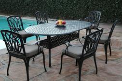 CBM Outdoor Cast Aluminum Patio Furniture 7 Pc Dining Set C