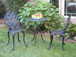 CBM Outdoor Patio Deck Cast Aluminum Furniture 3 Piece Bistr