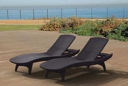 Keter Chaise Lounge 2 Pack Grey Rattan Durable UV Outdoor Pa
