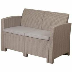 Flash Furniture Charcoal Faux Rattan Loveseat with All-Weath