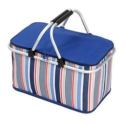Collapsible&Reusable Fabric Picnic Tote Lightweight Basket P