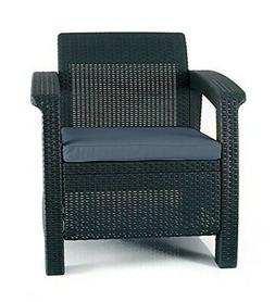 Keter Corfu Armchair All Weather Outdoor Furniture with Cush