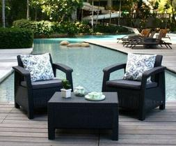 Keter Corfu Balcony 3-Piece Set Patio Resin All-Weather and