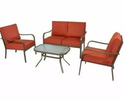 4 Piece Cushioned Patio Furniture Set W/ Loveseat, 2 Chairs,