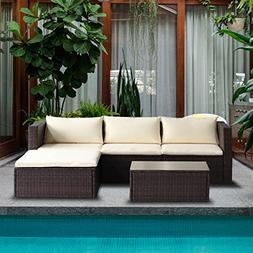 Merax 5-Piece Cushioned Outdoor Patio PE Rattan Furniture Se