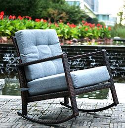 Merax Cushioned Rattan Rocker Chair Rocking Armchair Chair O