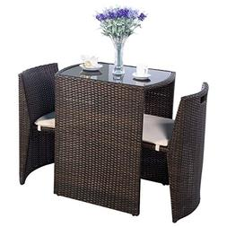 Giantex 3 PCS Cushioned Outdoor Wicker Patio Set Convention
