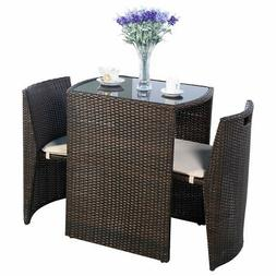 Goplus 3 PCS Cushioned Outdoor Wicker Patio Set Seat Brown G