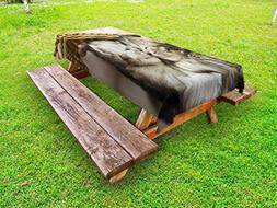 Lunarable Cute Outdoor Tablecloth, Tabby Kittens Sleeping an