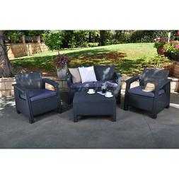 Dark Grey Resin Wicker Patio Conversation Seating Set Outdoo