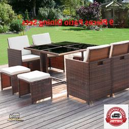 Deal 9 Pieces Patio Dining Sets Outdoor Furniture Patio Wick