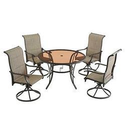 Dinning Furniture Outdoor Patio Aluminum Round Glass Top Tab