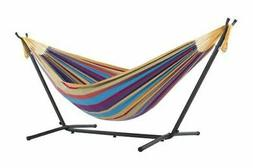 Vivere Double Hammock with Space-Saving Steel Stand, Tropica