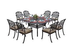 Darlee Elisabeth Cast Aluminum 9-Piece Dining Set with Seat
