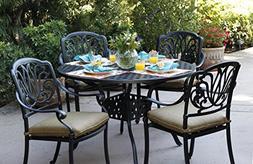 Darlee Elisabeth Cast Aluminum 5-Piece Dining Set with Seat
