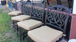Elizabeth Outdoor Patio Arm Less Swivel Bar stools Cast Alum