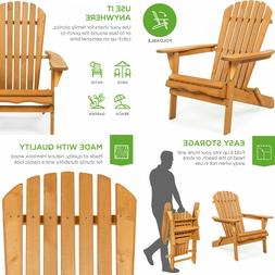 Foldable Wooden Adirondack Chair Outdoor Patio Furniture Lou