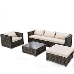 6PC Furniture Set Patio Sofa PE Gray Rattan Couch Black Cush