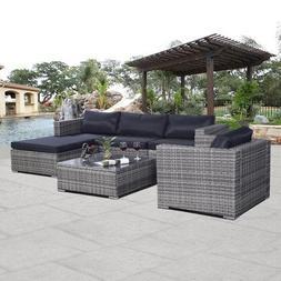 6pc Furniture Set Aluminum Patio Sofa Pe Gray Rattan Couch B