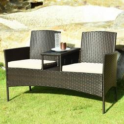 Furniture Set Patio Wicker Rattan Garden Bench Chair  Coffee