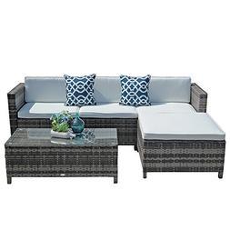 Outdoor Patio Furniture Set, 5pc PE Wicker Rattan Sectional