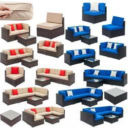 Garden Outdoor Patio Rattan Wicker Furniture Set Couch Sofa
