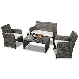 Goplus 4 PC Rattan Patio Furniture Set Garden Lawn Pool Back