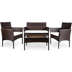 Merax 4 PC Outdoor Garden Rattan Patio Furniture Set Cushion