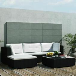 vidaXL 14 Piece Garden Sofa Set Black Poly Rattan