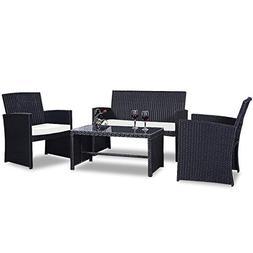 Goplus 4 PC Rattan Patio Furniture Set Garden Lawn Pool Back