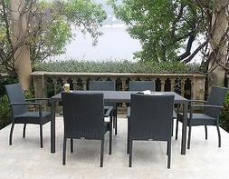 Graphite Outdoor Patio Furniture Resin Wicker Stacking Dinin