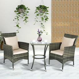 Gray Resin Wicker 3 Piece Patio Chair & Side Table Set Outdo