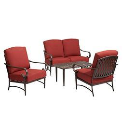 Hampton Bay Oak Cliff 4-Piece Metal Outdoor Deep Seating Set