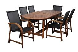 Amazonia Indiana 7 Piece Oval Eucalyptus Patio Dining Set