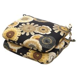 Pillow Perfect Indoor/Outdoor Black/Yellow Floral Seat Cushi