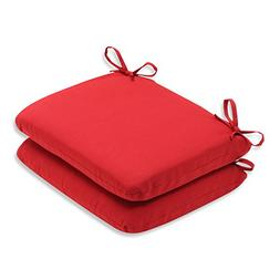 Pillow Perfect Indoor/Outdoor Red Solid Seat Cushion Rounded