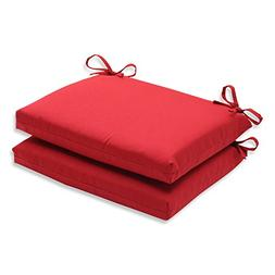 Pillow Perfect Indoor/Outdoor Red Solid Seat Cushion Squared