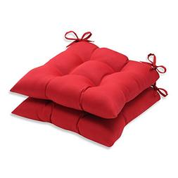 Pillow Perfect Indoor/Outdoor Red Solid Tufted Seat Cushion,