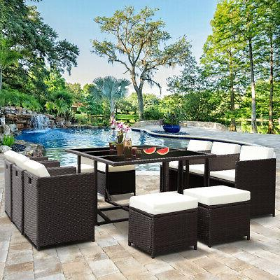 11 PCS Outdoor Dining Metal Rattan