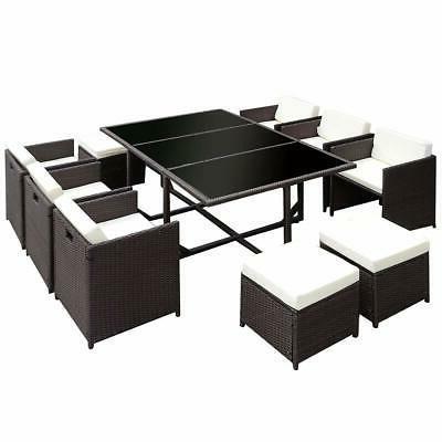 11 Furniture Wicker Rattan Dining Table Cushion Set