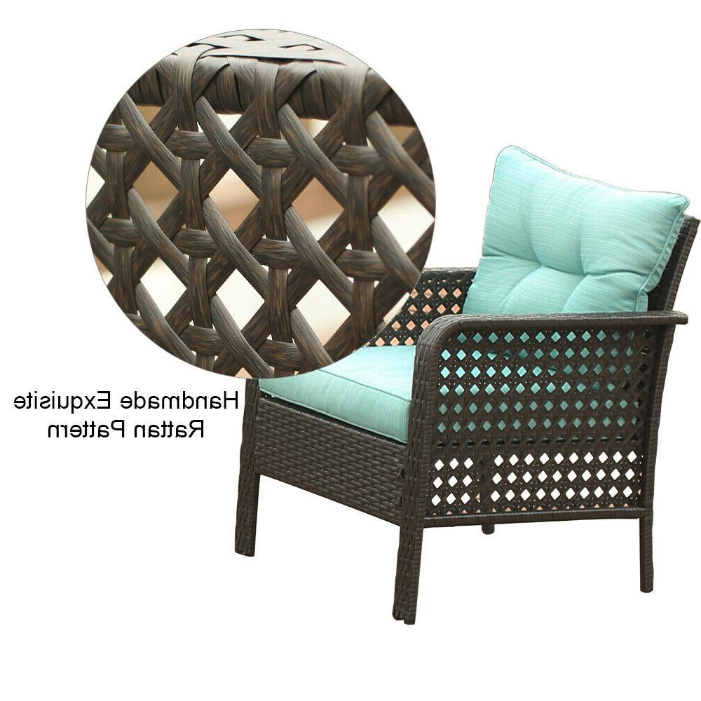 2PC Rattan Set Wicker Outdoor Couch Green